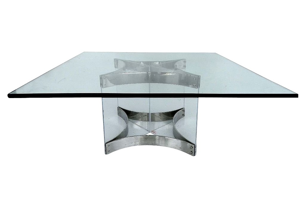 Alessandro Albrizzi Chrome Glass Amp Lucite Coffee Table