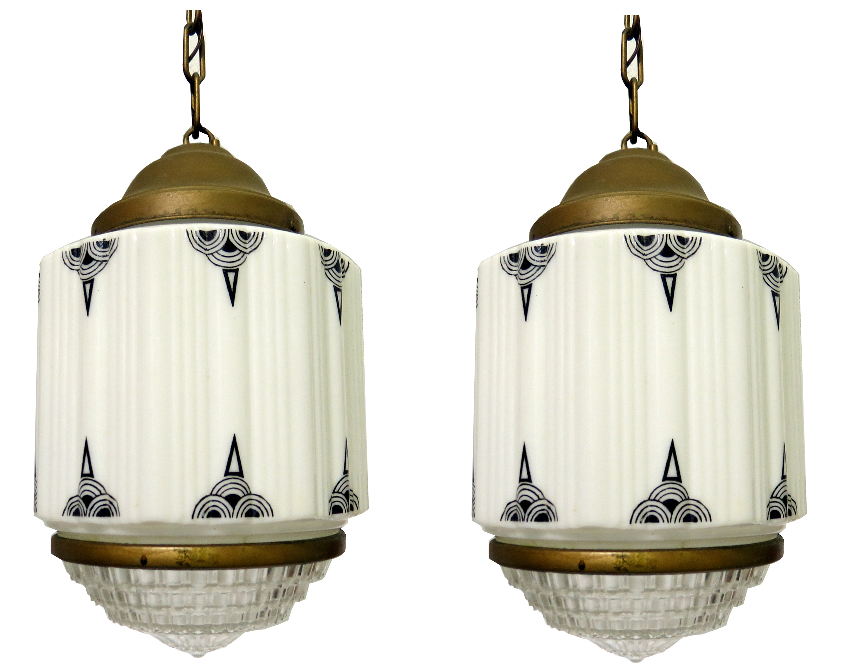 Pair American Art Deco Milkglass Geometric Pendant Lights ...