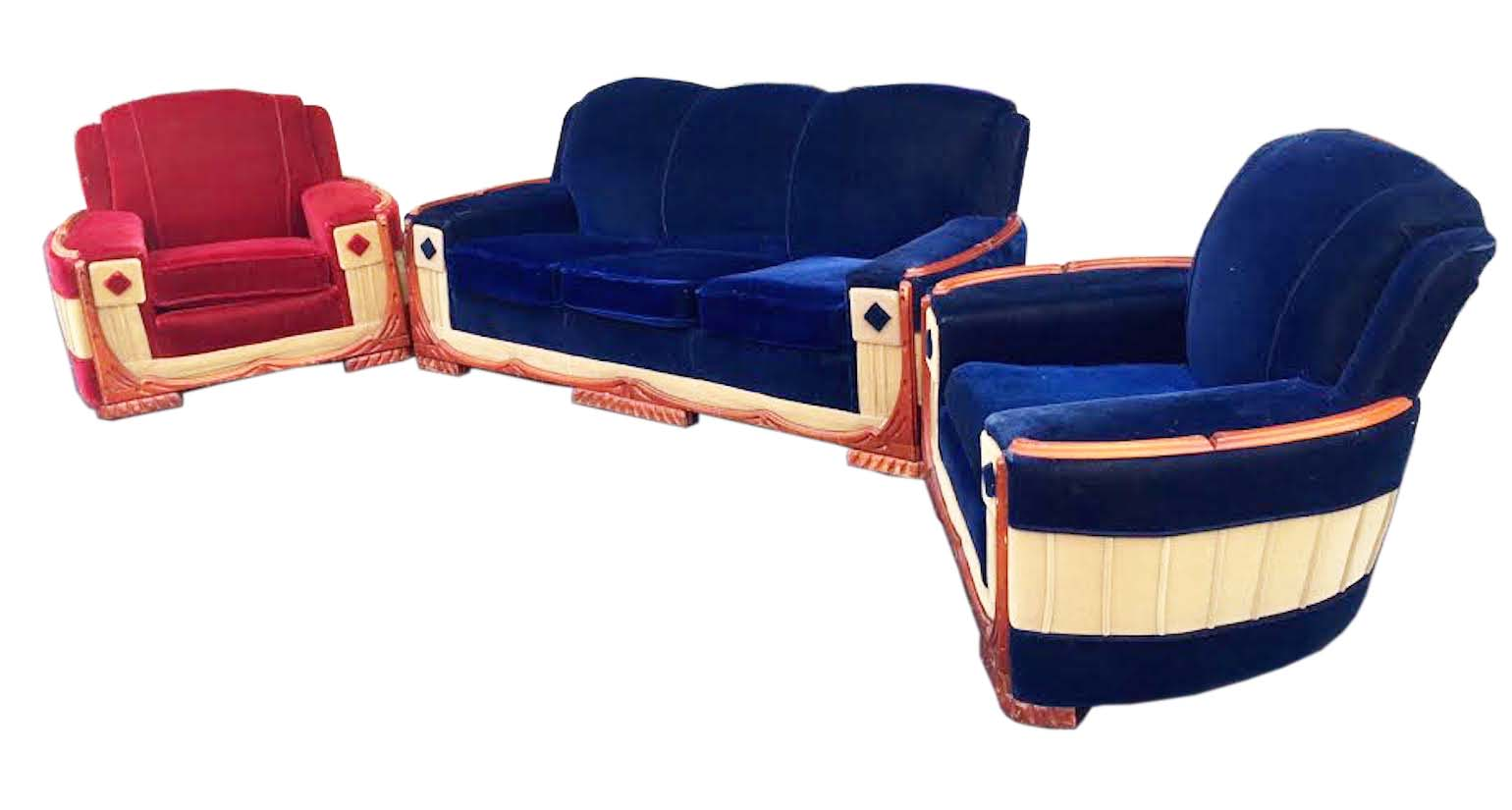 American Art Deco Pair Of Club Chairs And Sofa
