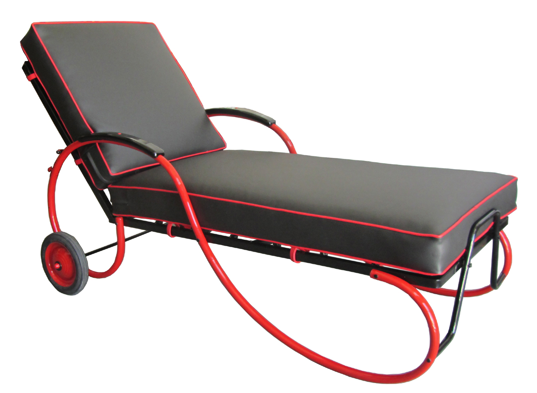 American art deco black and red chaise lounge modernism for Art deco chaise lounge