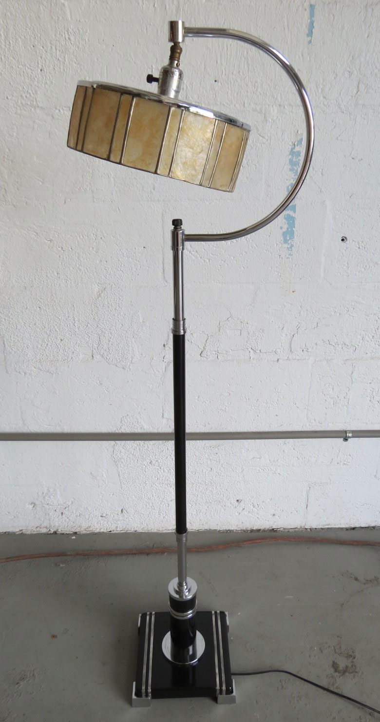American Art Deco Floor Lamp With Mica Shade Modernism