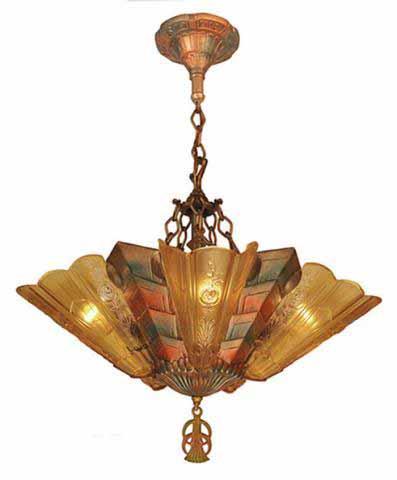 Antique Art Deco Slip Shade Fenwick Chandelier C1933