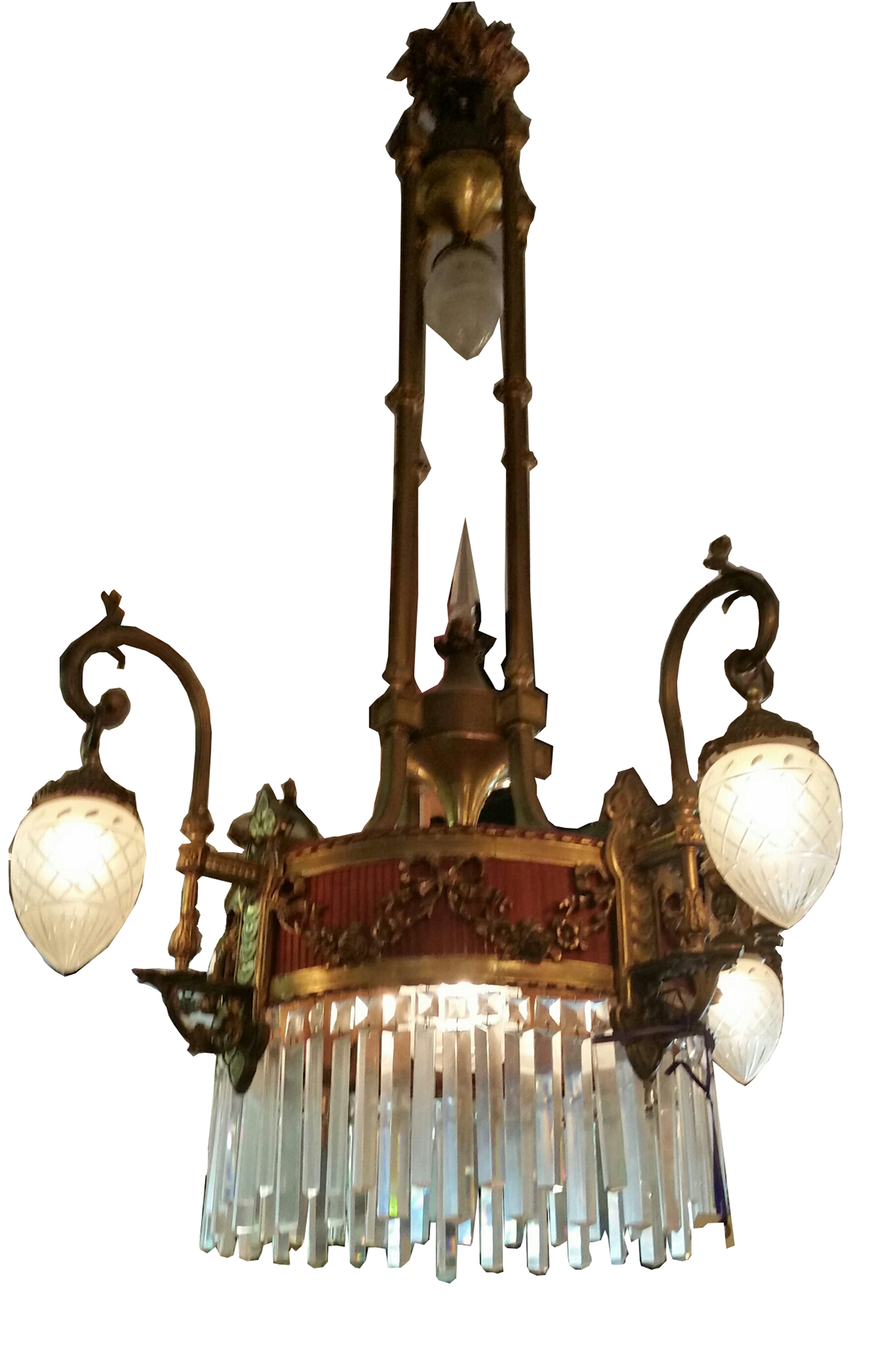 Antique Brass Chandelier With Cut Crystal Bowls Modernism