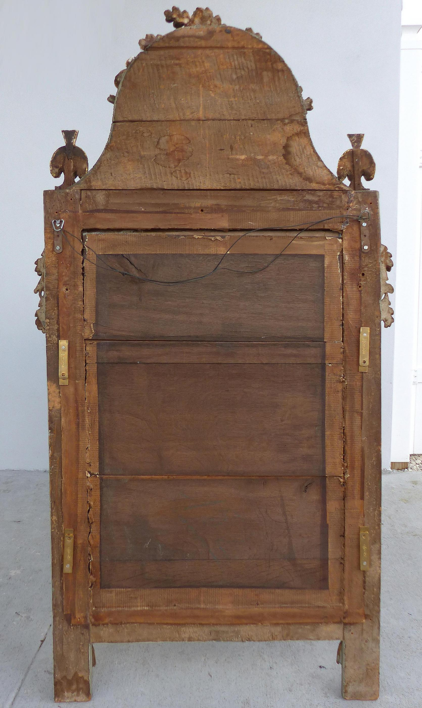 Antique European Carved Gilt Wood Mirror Modernism