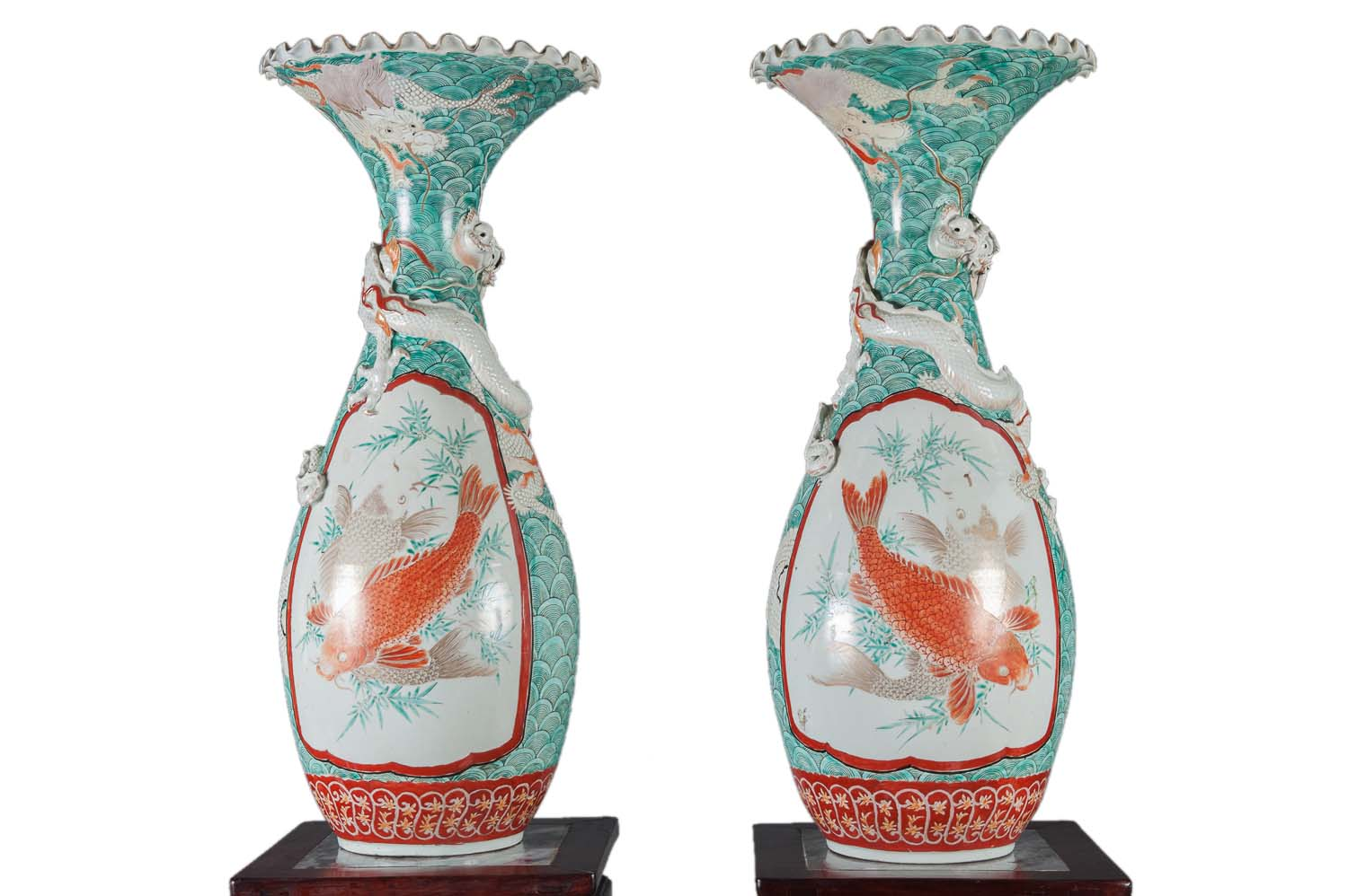 A Pair Of Antique Japanese Porcelain Vases With Dragon