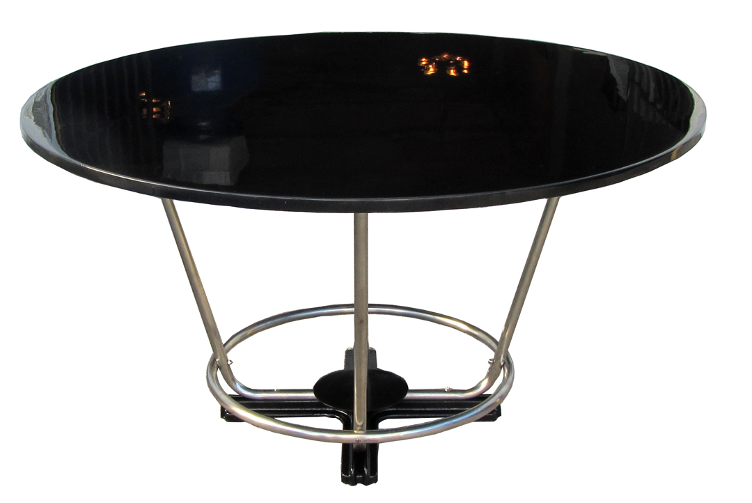 Deco Round Black Lacquer And Chromed Steel Dining Table Modernism