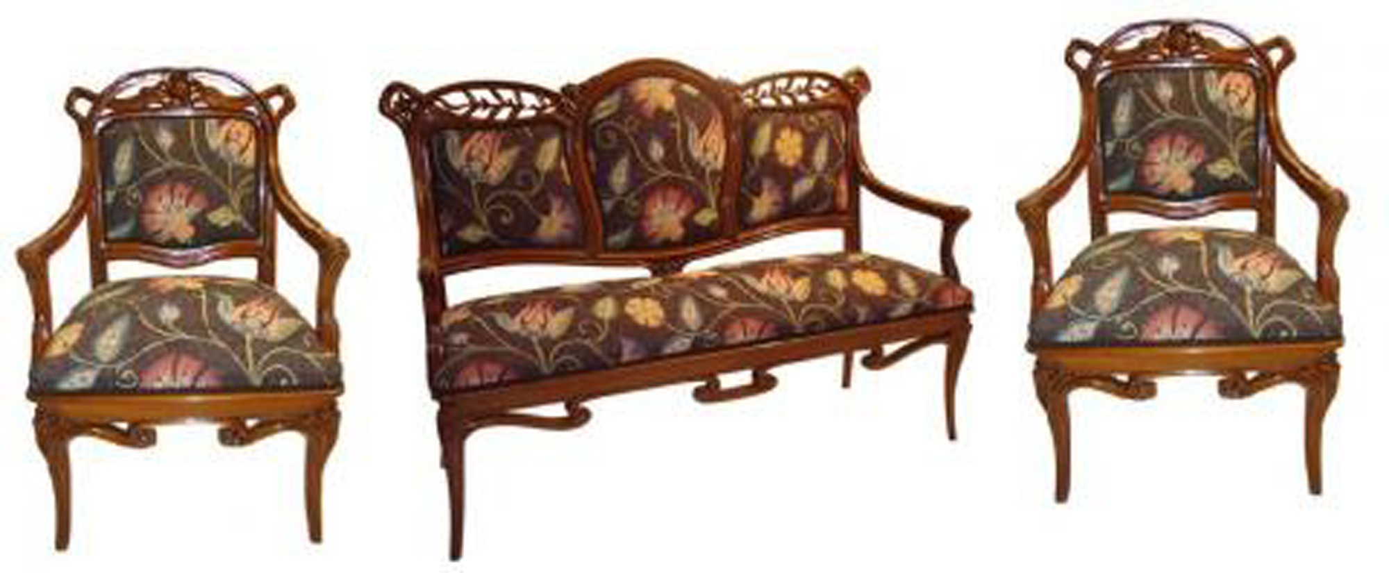 Art Nouveau Parlor Set Two Armchairs And Settee Modernism
