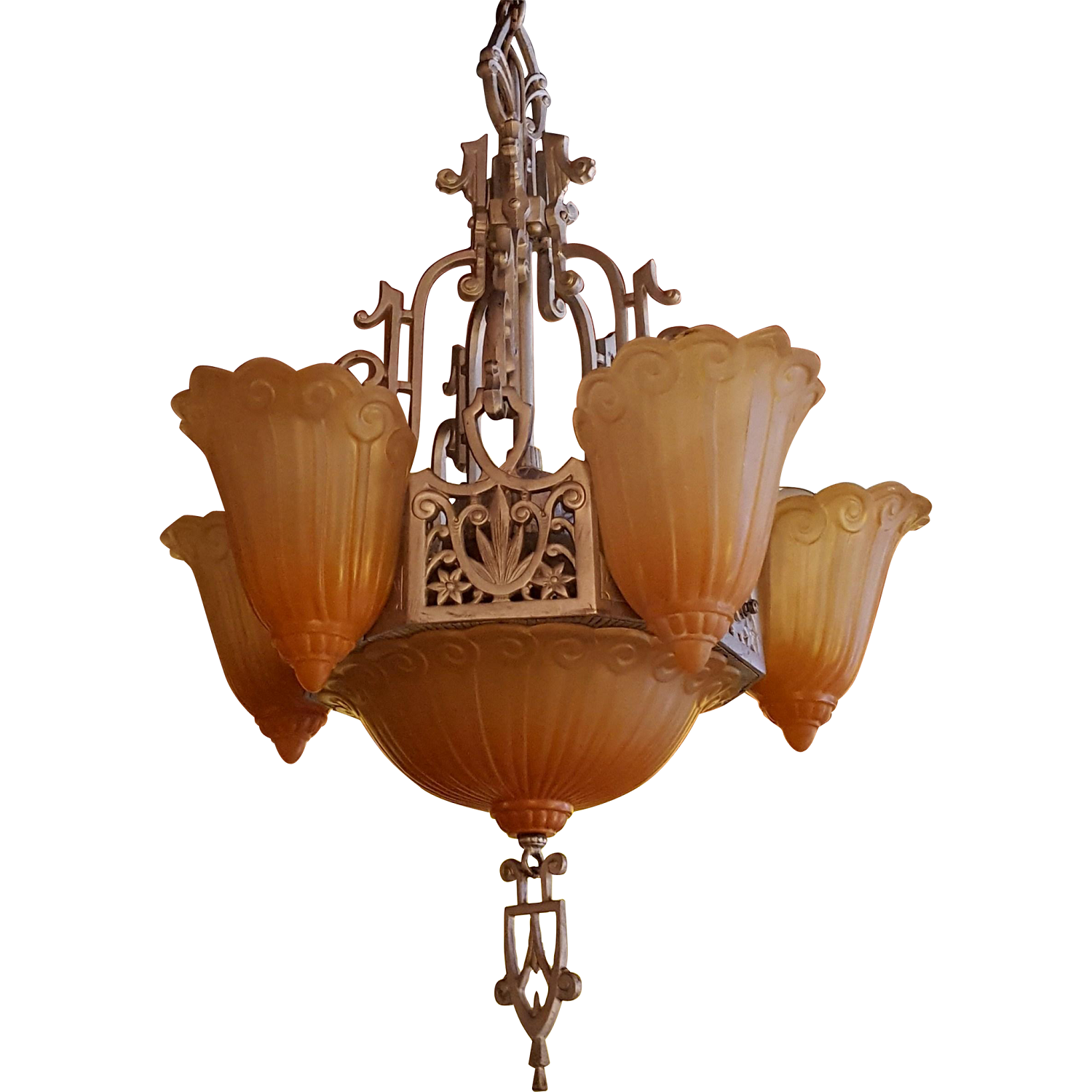 Art Deco Peach Glass Lincoln Six Light Chandelier From