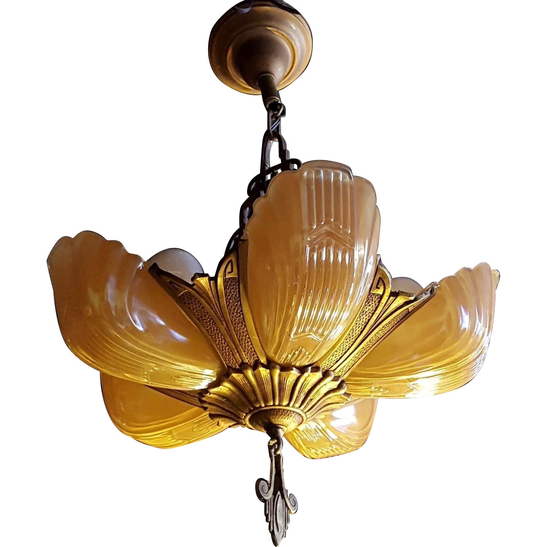 Markel Art Deco Peach Luster Glass 5 Slip Shade Chandelier