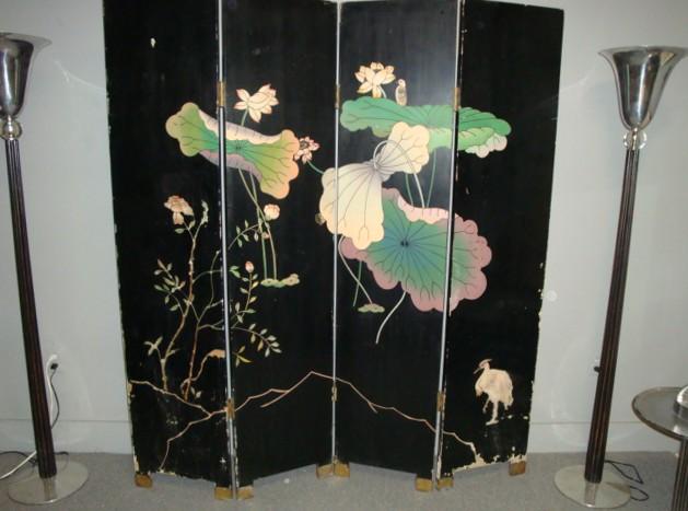 Art Deco Asian 4 Panel Folding Screen Double Sided