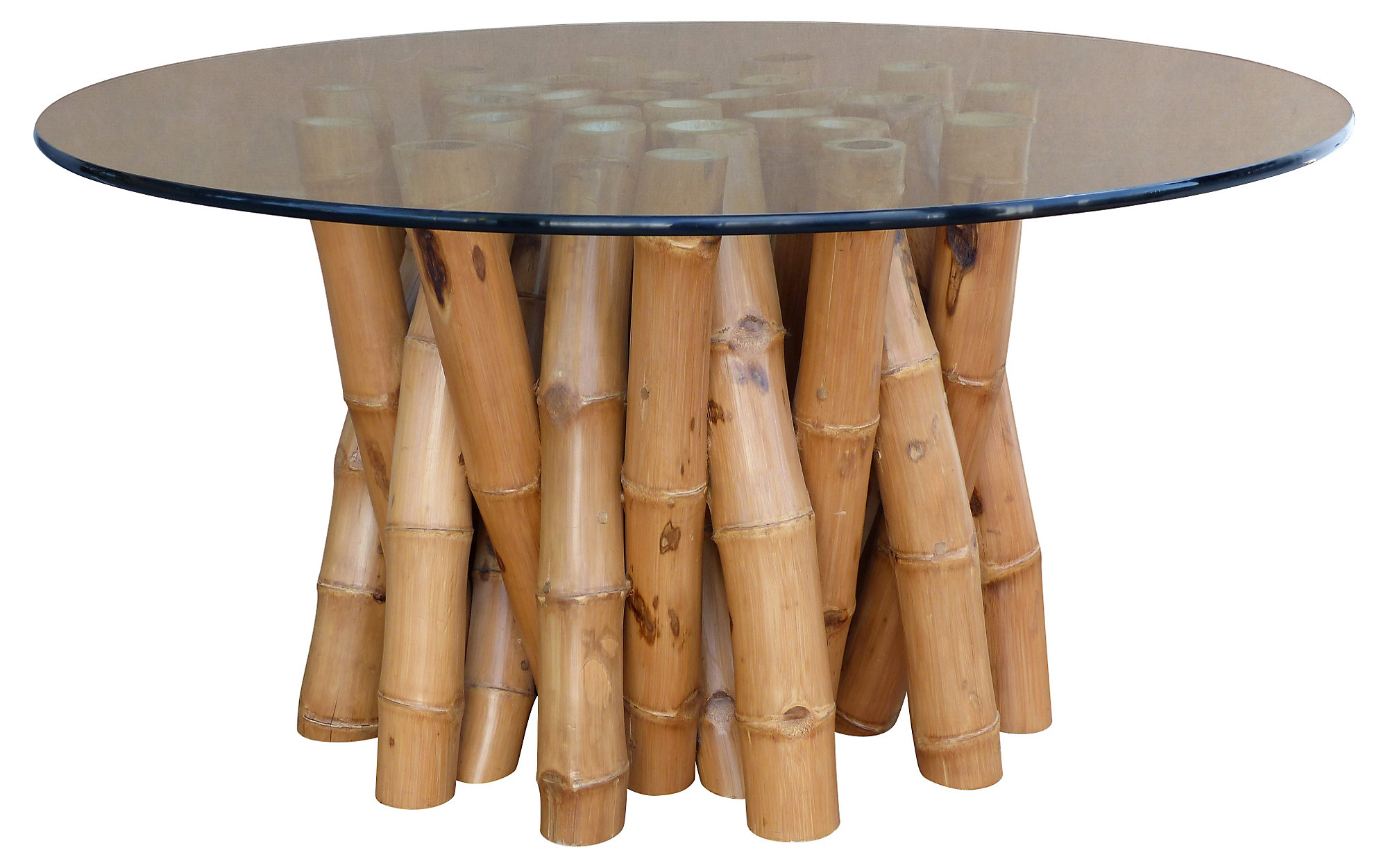 Bamboo Dining Table W Glass Top Modernism