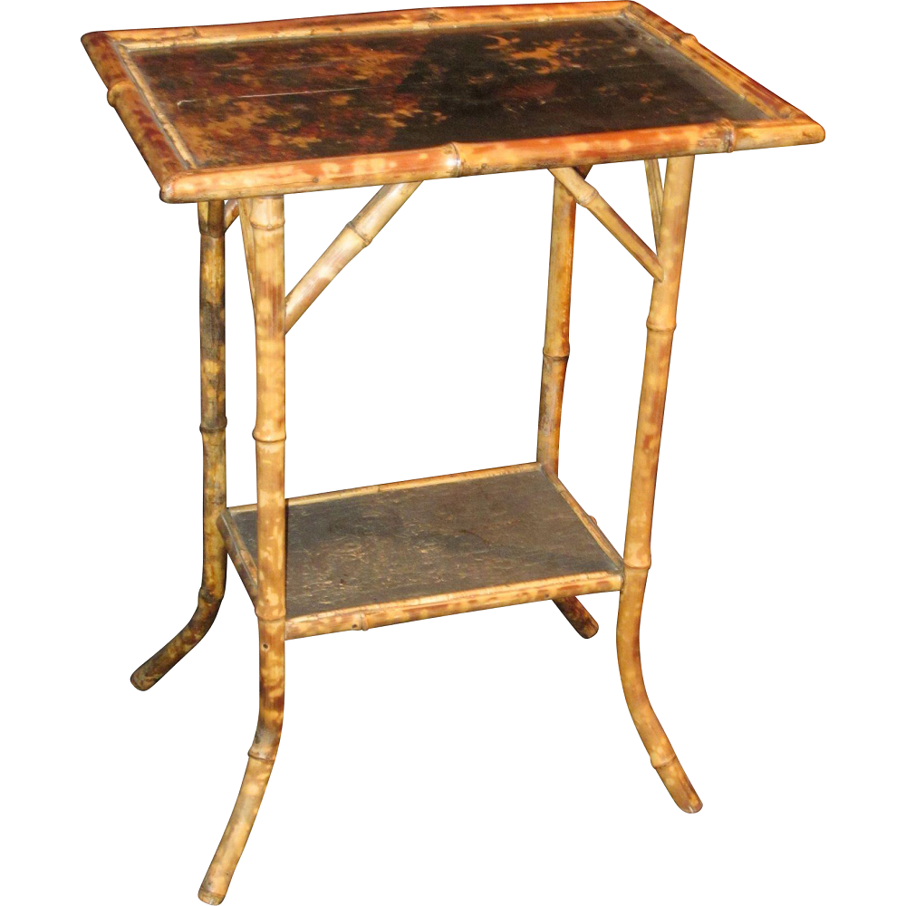 Art nouveau bamboo chinoiserie side table modernism for Bamboo side table