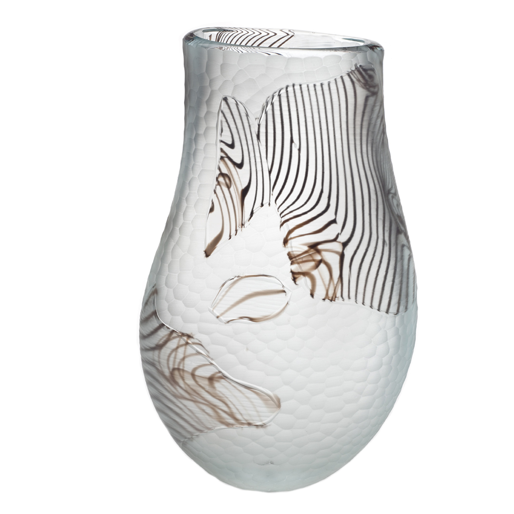 A Unique Battuto Vase Murano Italian Design Modernism