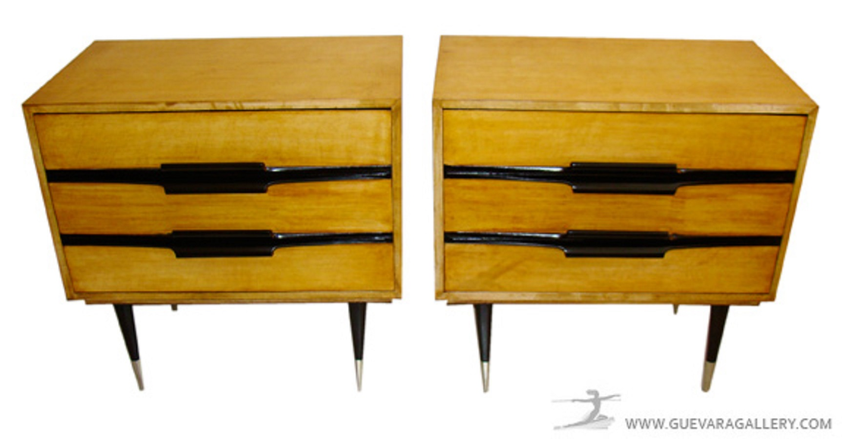 Pair Italian Design Parchment Nightstands or End Tables | Modernism