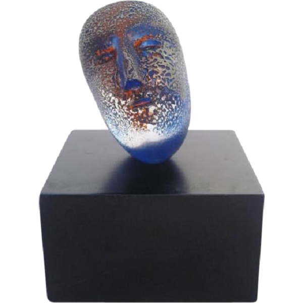 Kosta Boda Bertil Vallien Art Glass Blue Head Sculpture Modernism