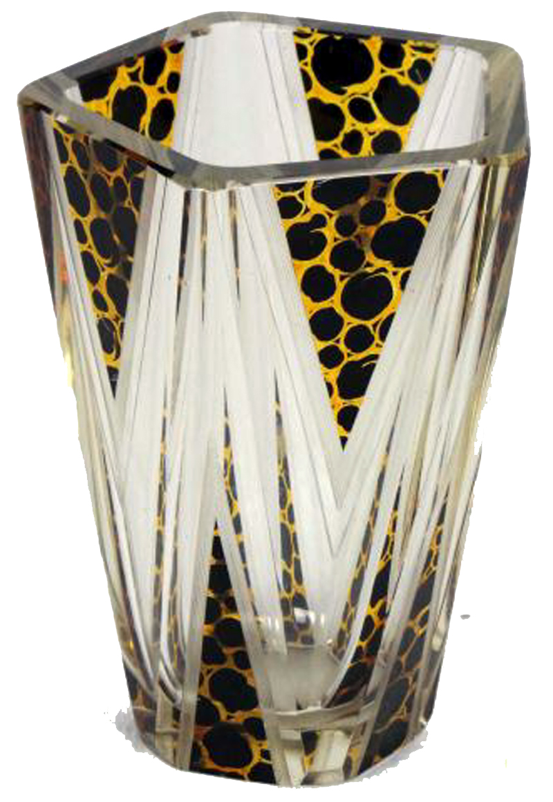 Art Deco Bohemian Geometric Cut Glass Vase Modernism