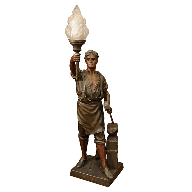 Arts And Crafts French Le Traveler Figural Standing Lamp