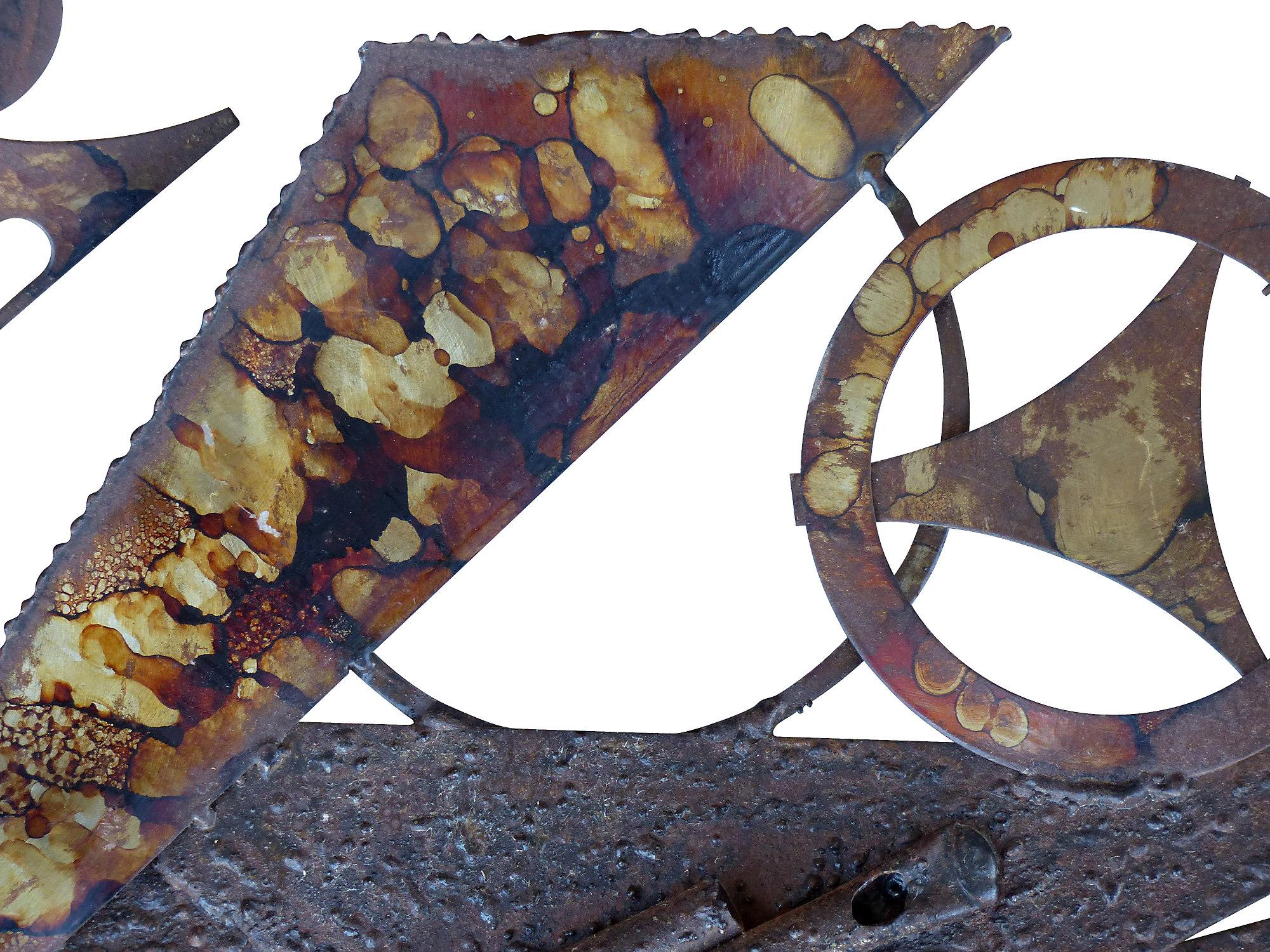 Mid Century Modern Mixed Metal Brutalist Wall Sculpture