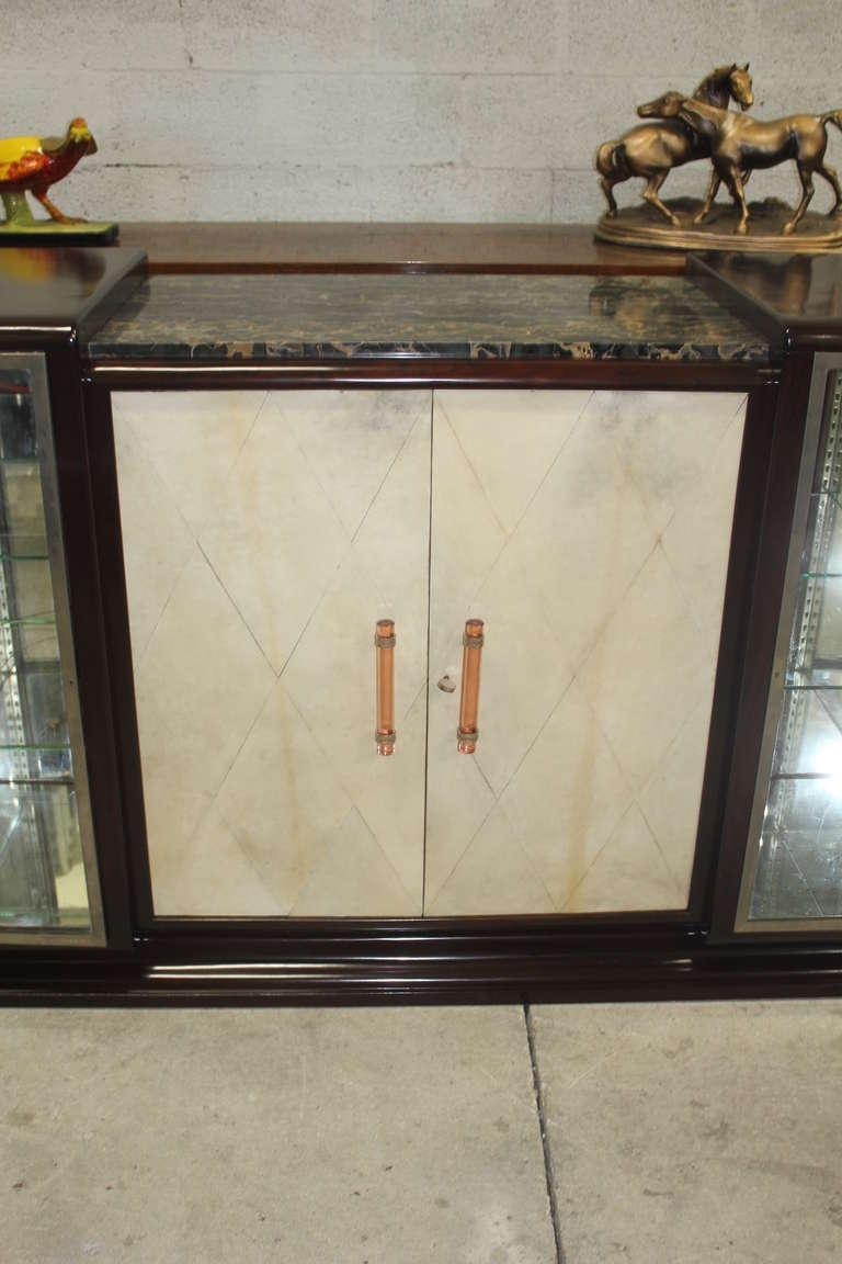 Huge French Art Deco Walnut Amp Parchment Display Bar