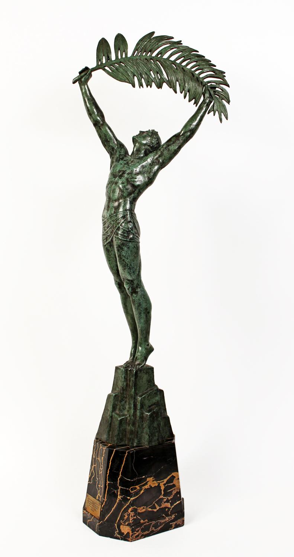 french art deco bronze sculpture palm leaf lefaguays modernism. Black Bedroom Furniture Sets. Home Design Ideas