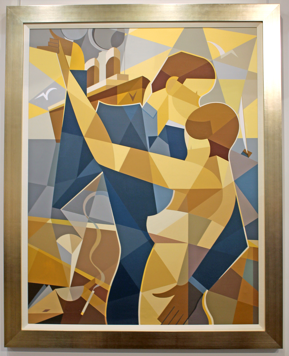 Cubist contemporary painting dancing couple modernism for Contemporary mural art