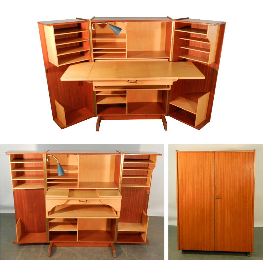 Teak and Sycamore Compact Home Office Desk and Storage | Modernism