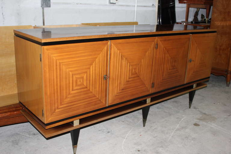 French Art Deco Blonde Mahogany Buffet Style Maxime Old
