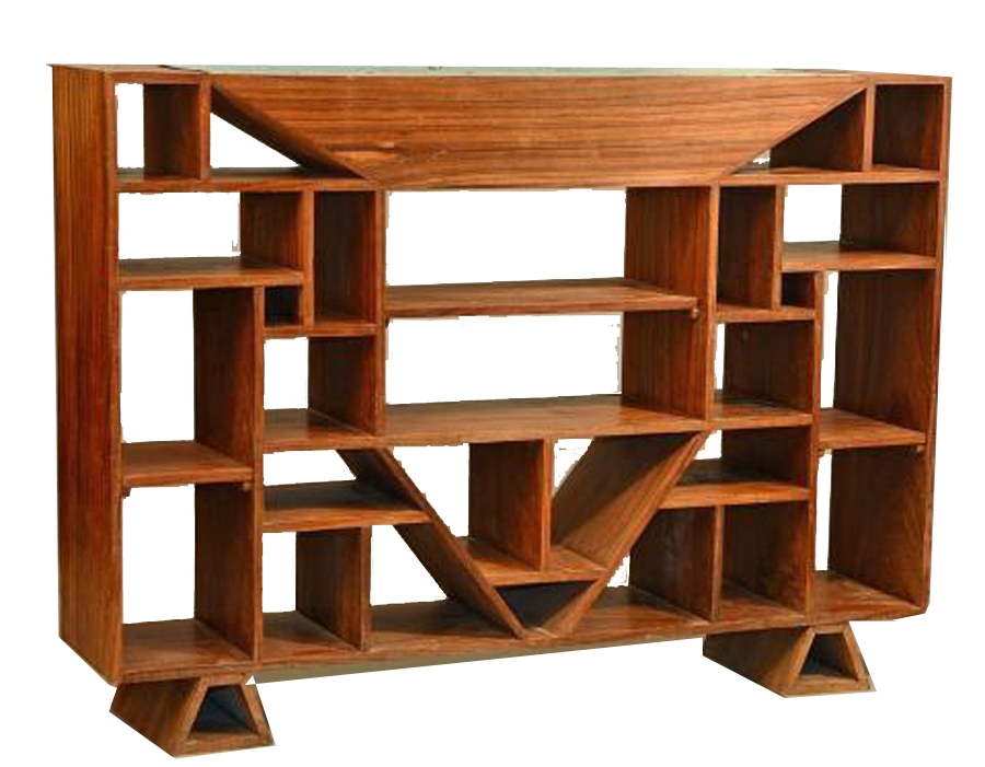 Cubist Room DividerBookcase att to Jacques Adnet c 1930 Modernism