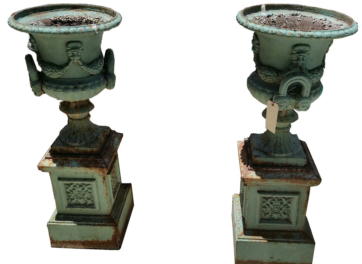 Pair Of Cast Iron Garden Urns Modernism