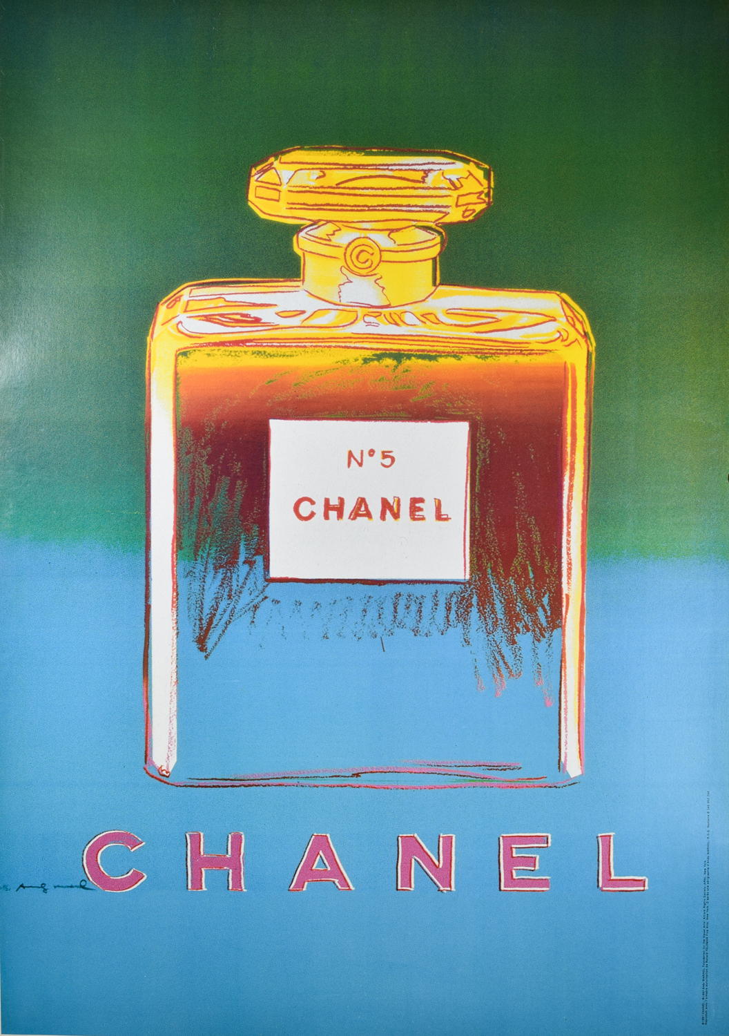 Chanel No 5 Blue Green Poster Designed By Andy Warhol Modernism