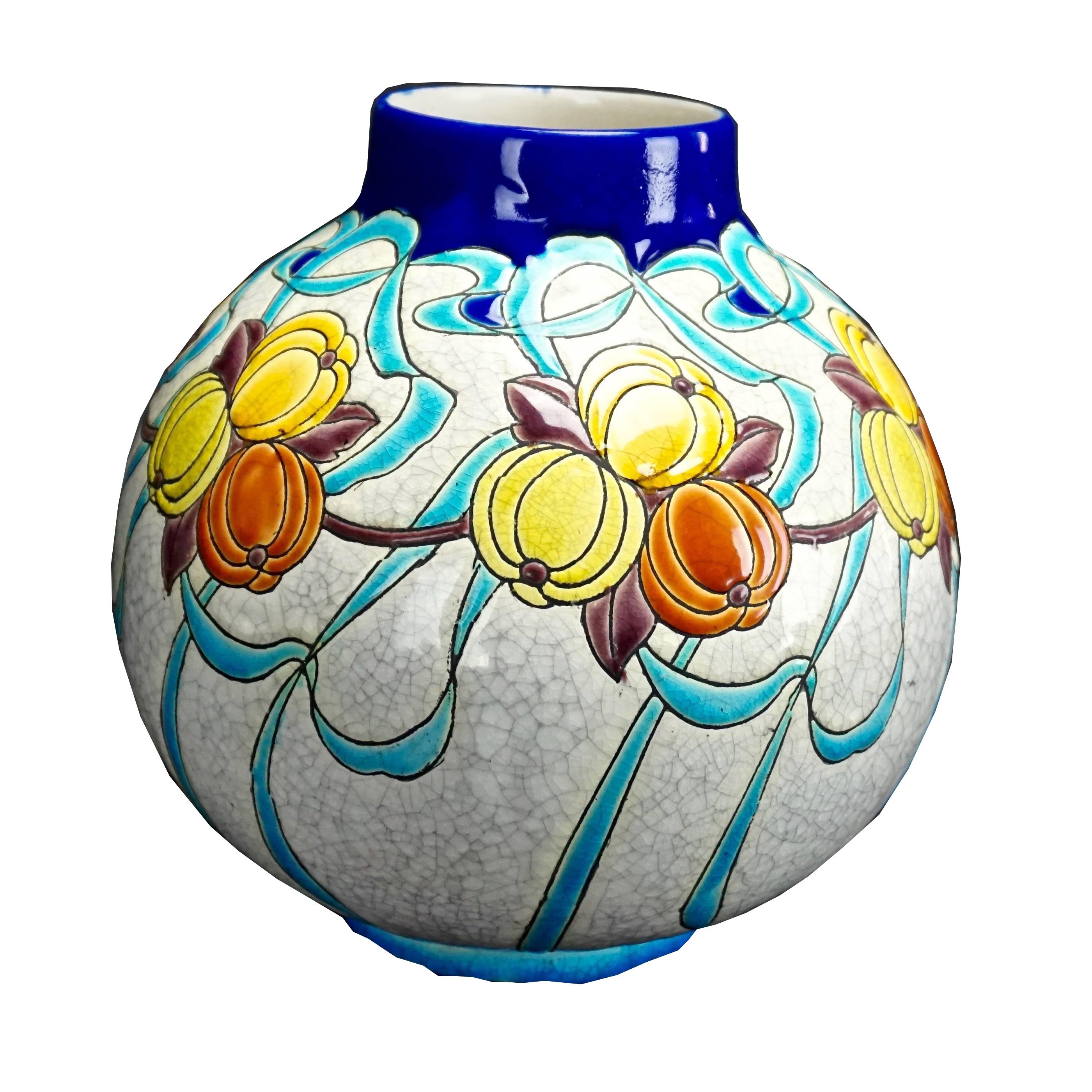 Charles Catteau Boch Freres Keramis Art Deco Vase D745 F894 Modernism
