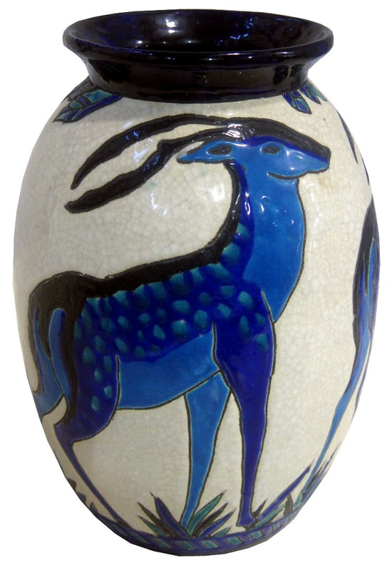 Charles Catteau Art Deco Deer Vase Biches Bleues Boch