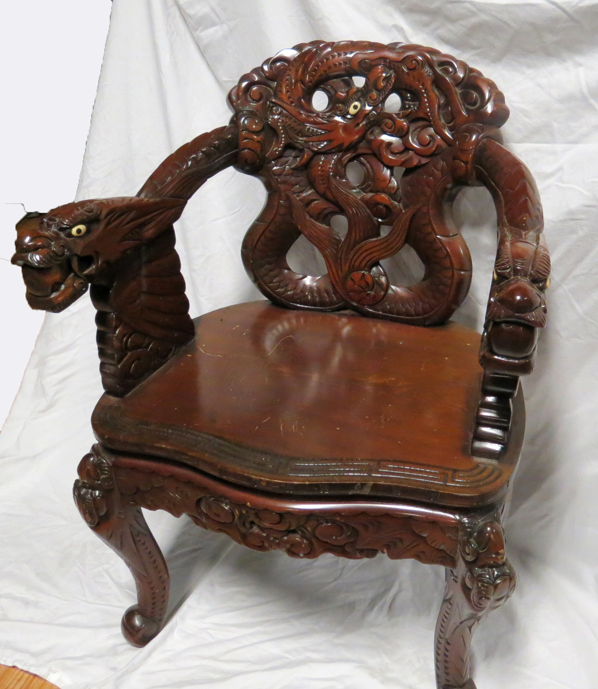 Chinese Carved Dragon Arm Chair Modernism