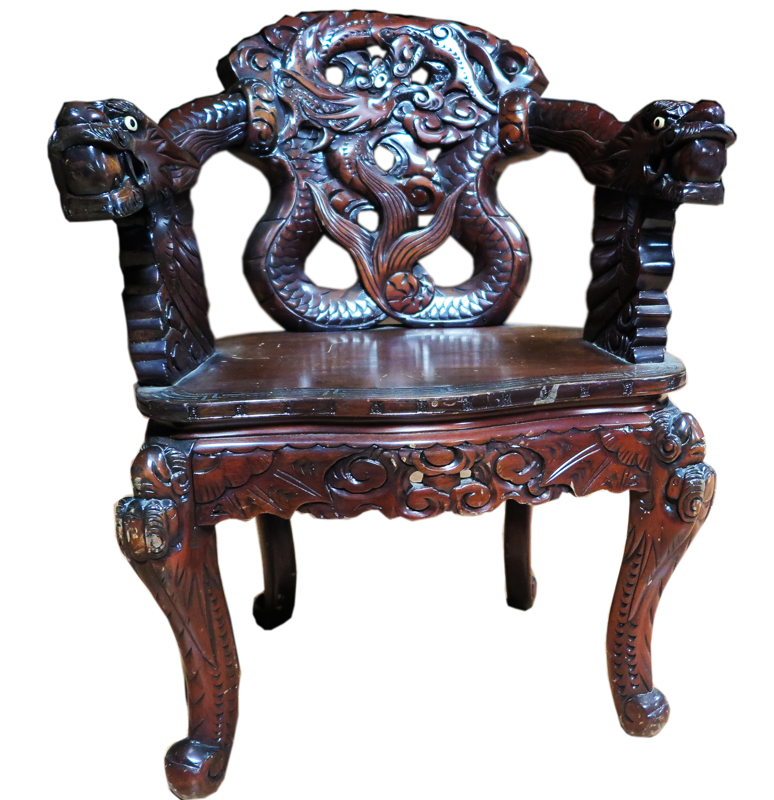 Chinese Carved Dragon Arm Chair | Modernism