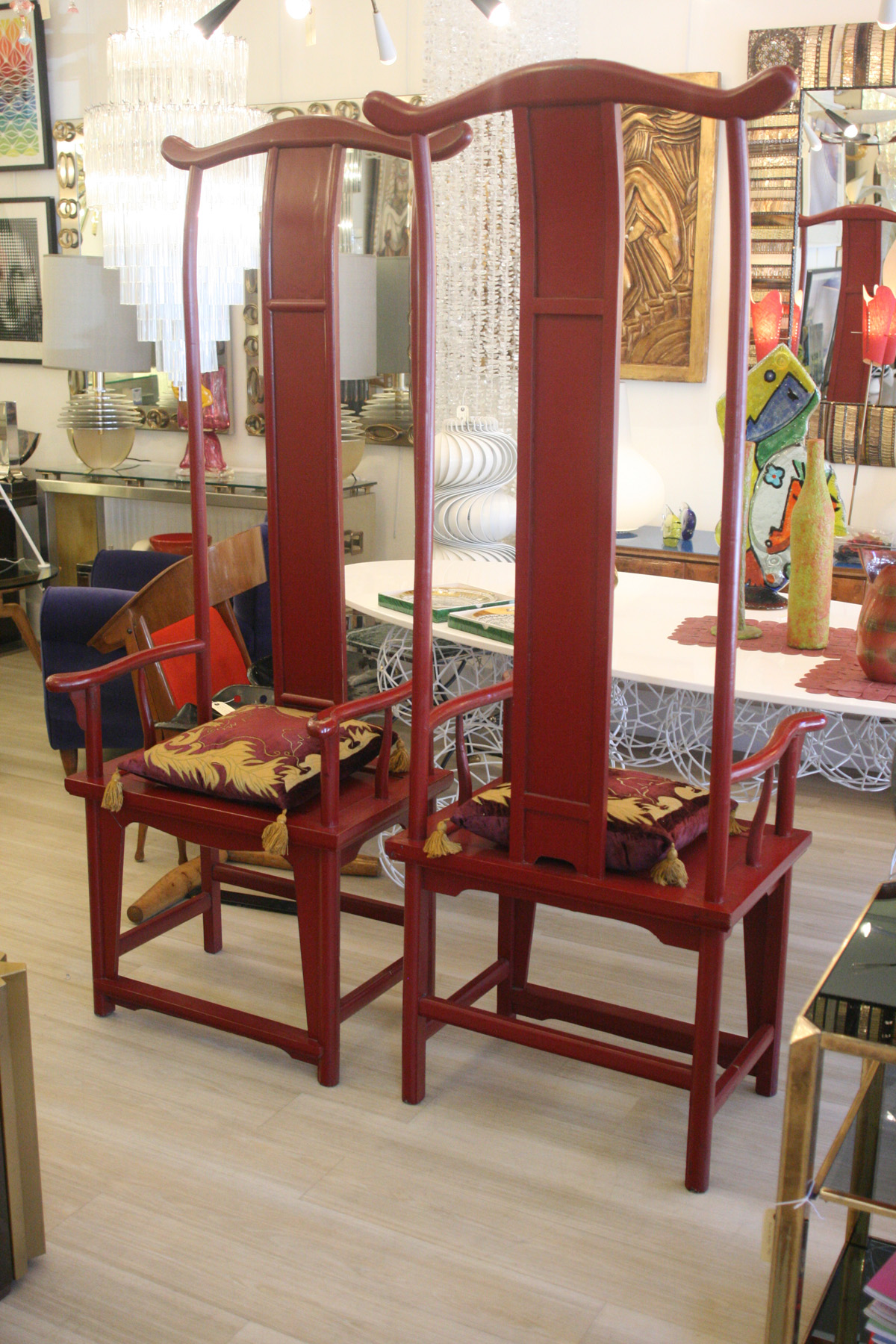 Pair Of Chinese Throne Tall Back Chairs