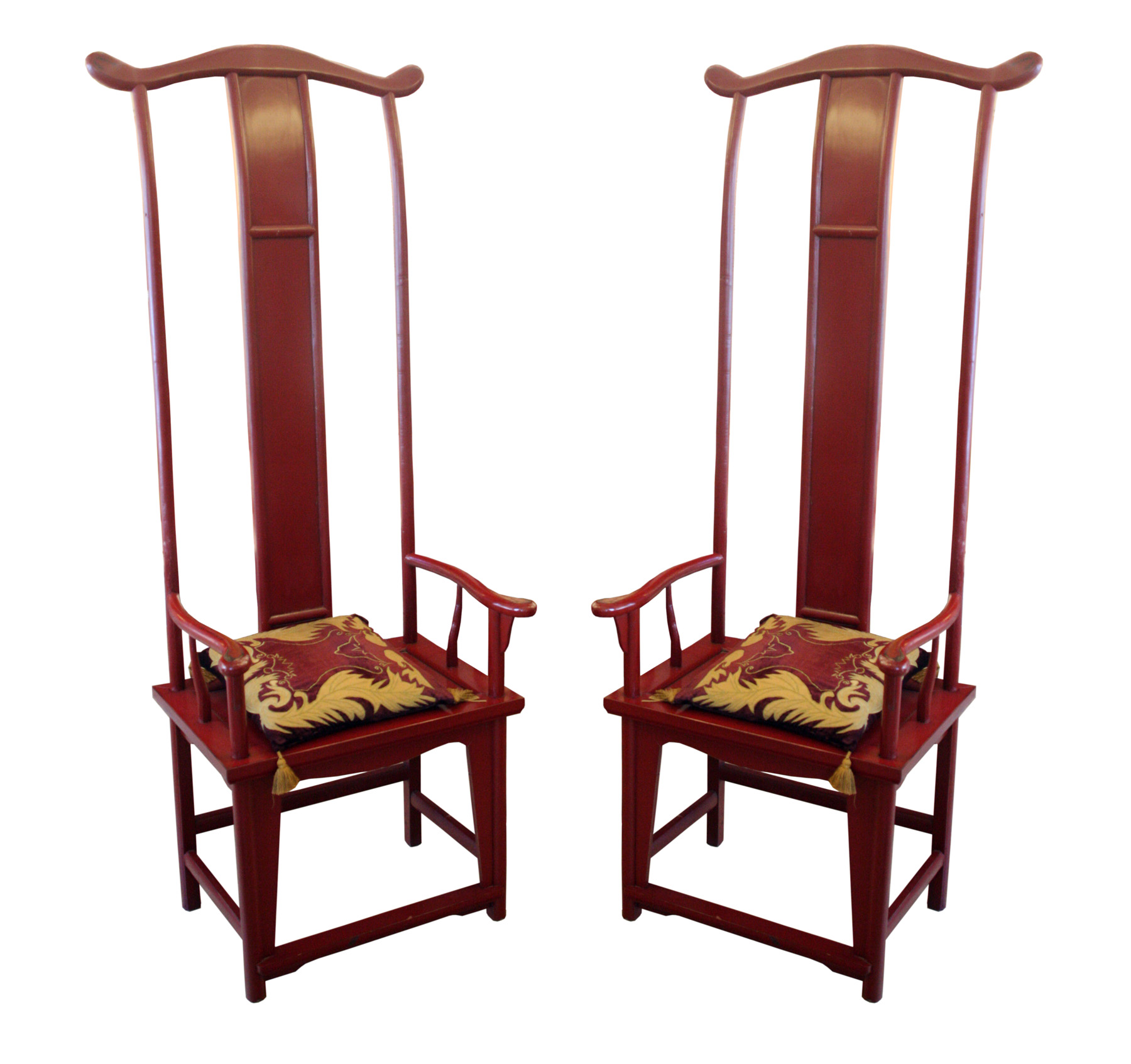 Pair Of Chinese Throne Tall Back Chairs Modernism