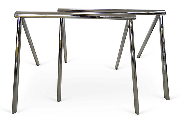 Mid Century Modern Chrome Saw Horse Desk, Dining Table Base