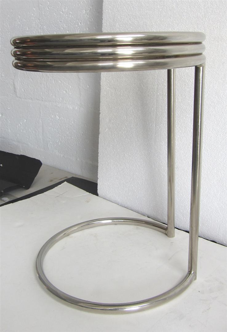 Amazing American Art Deco Chrome And Black Glass Occasional Table