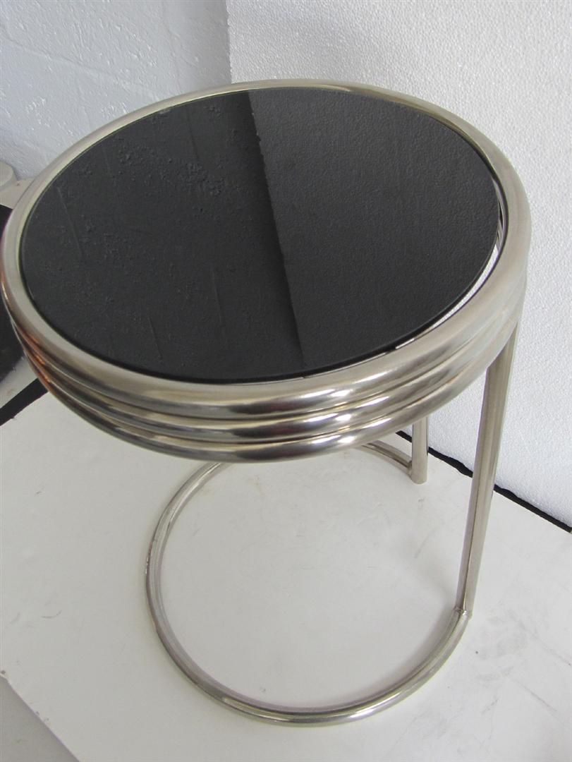 Nice American Art Deco Chrome And Black Glass Occasional Table
