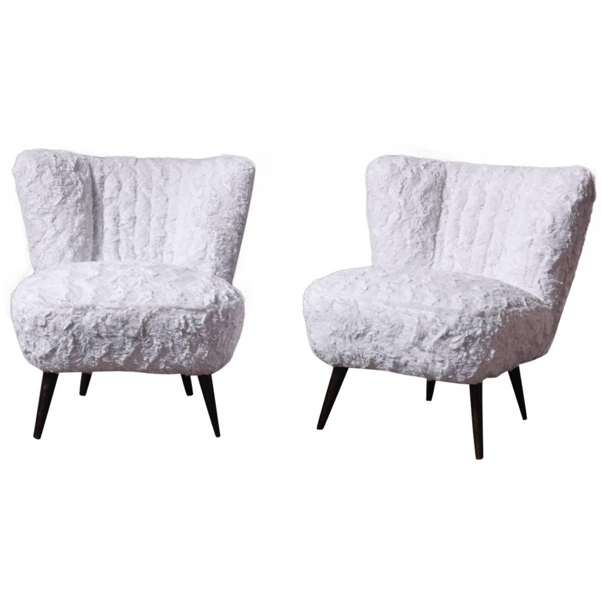 Pair Of Cocktail Chairs In Faux Fur Modernism