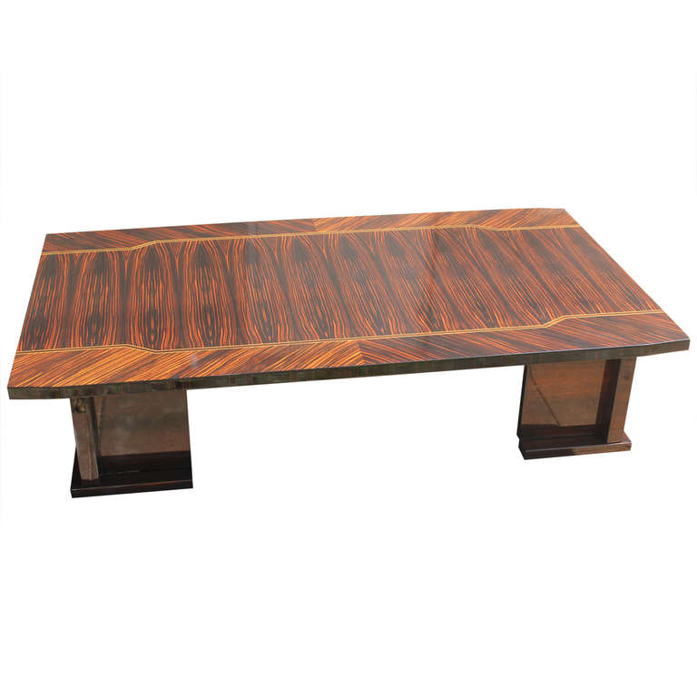 Large French Art Deco Exotic Macassar Ebony Coffee Table Modernism