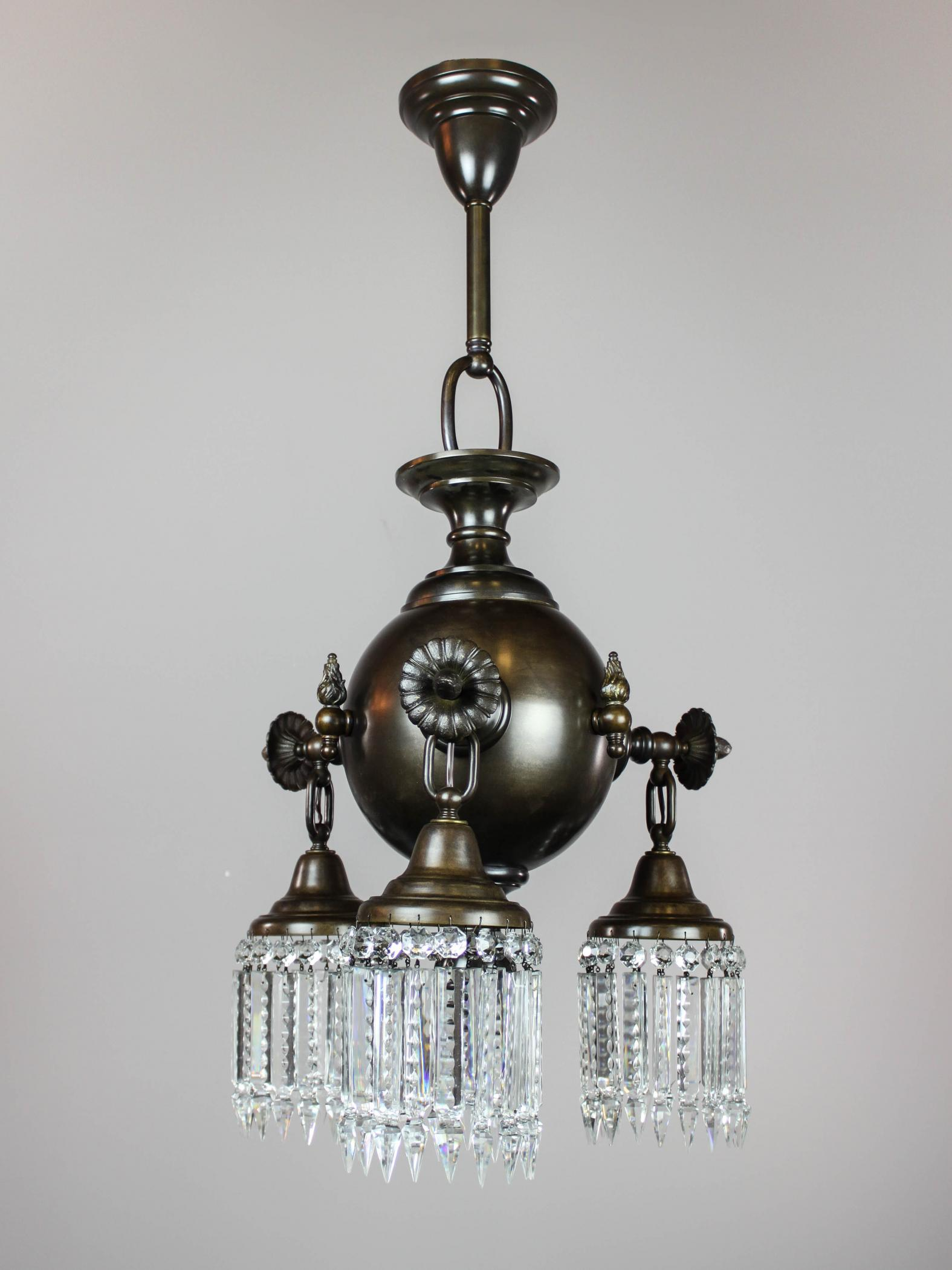 Pair of combination gas electric crystal light fixtures modernism