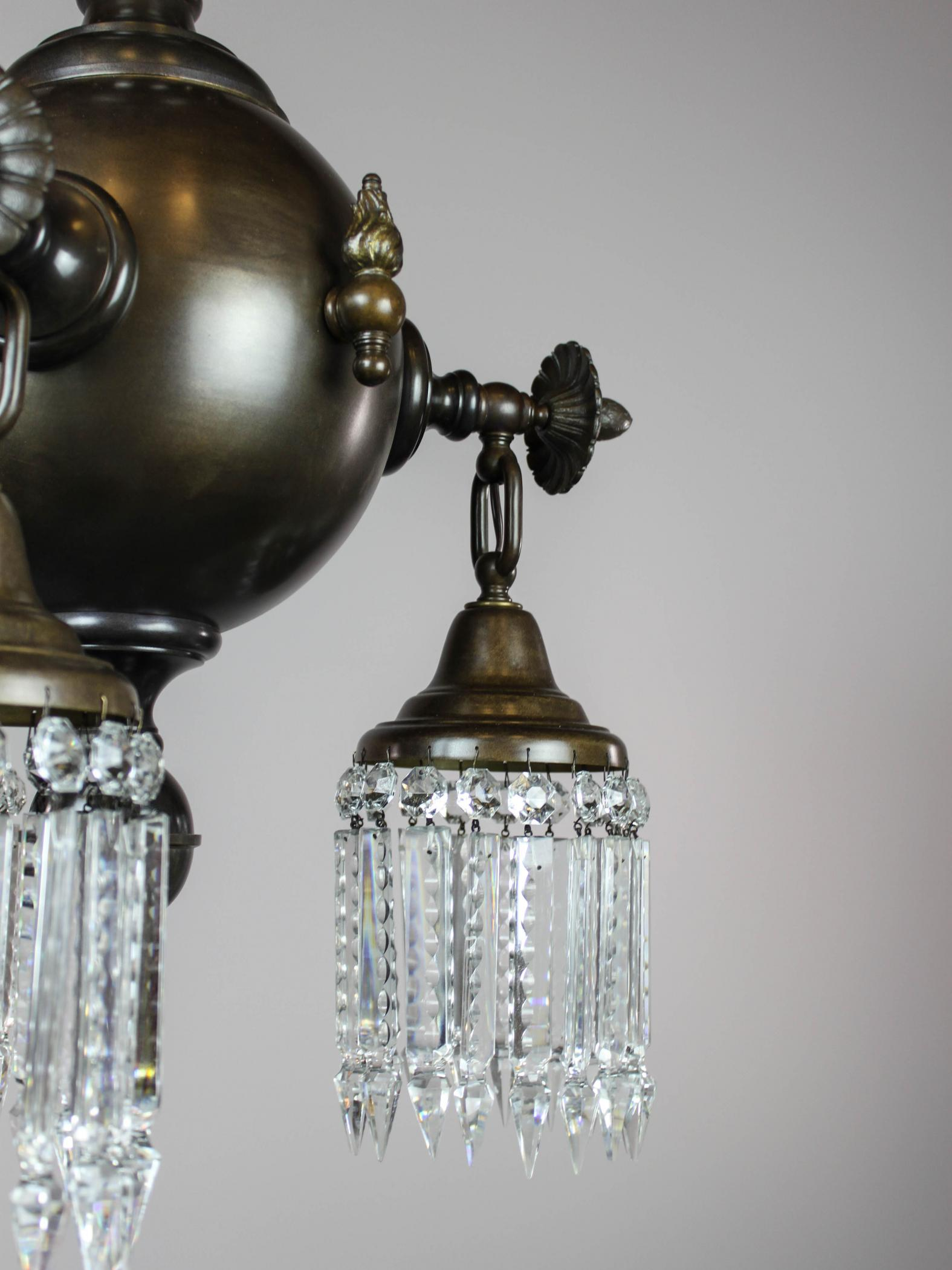 Pair Of Combination Gas Electric Crystal Light Fixtures