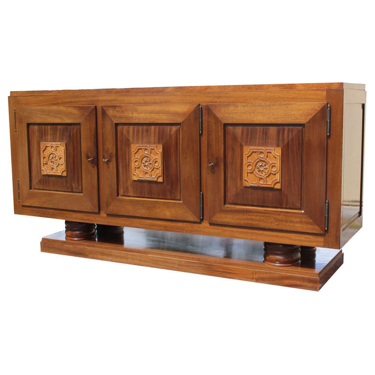 french art deco carved mahogany buffet by gaston poisson modernism. Black Bedroom Furniture Sets. Home Design Ideas