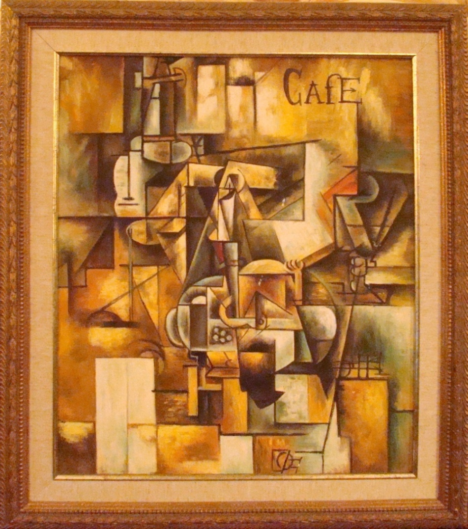 Mid Century Modern Cubist Cafe Oil Painting Modernism