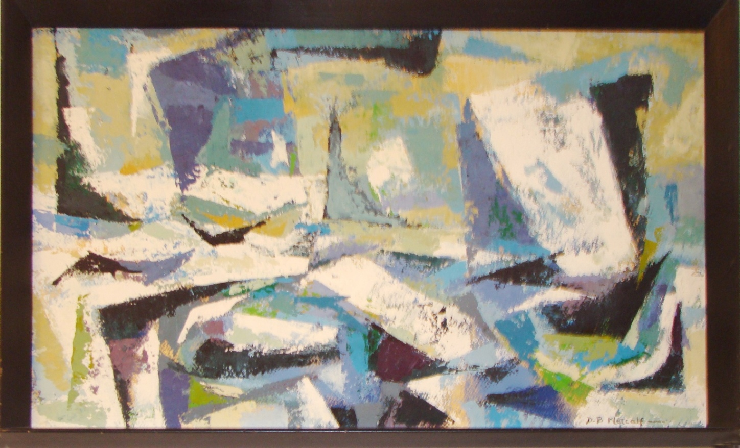 Mid Century Modern Abstract Nautical Painting D B Metcalf