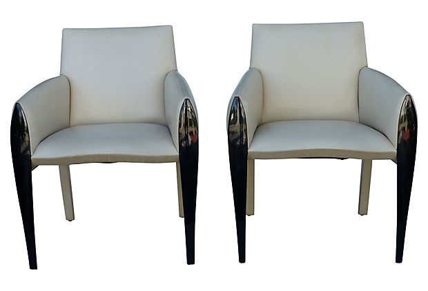 Pair Of Leather Lacquered Wood Chairs By Dakota Jackson Modernism