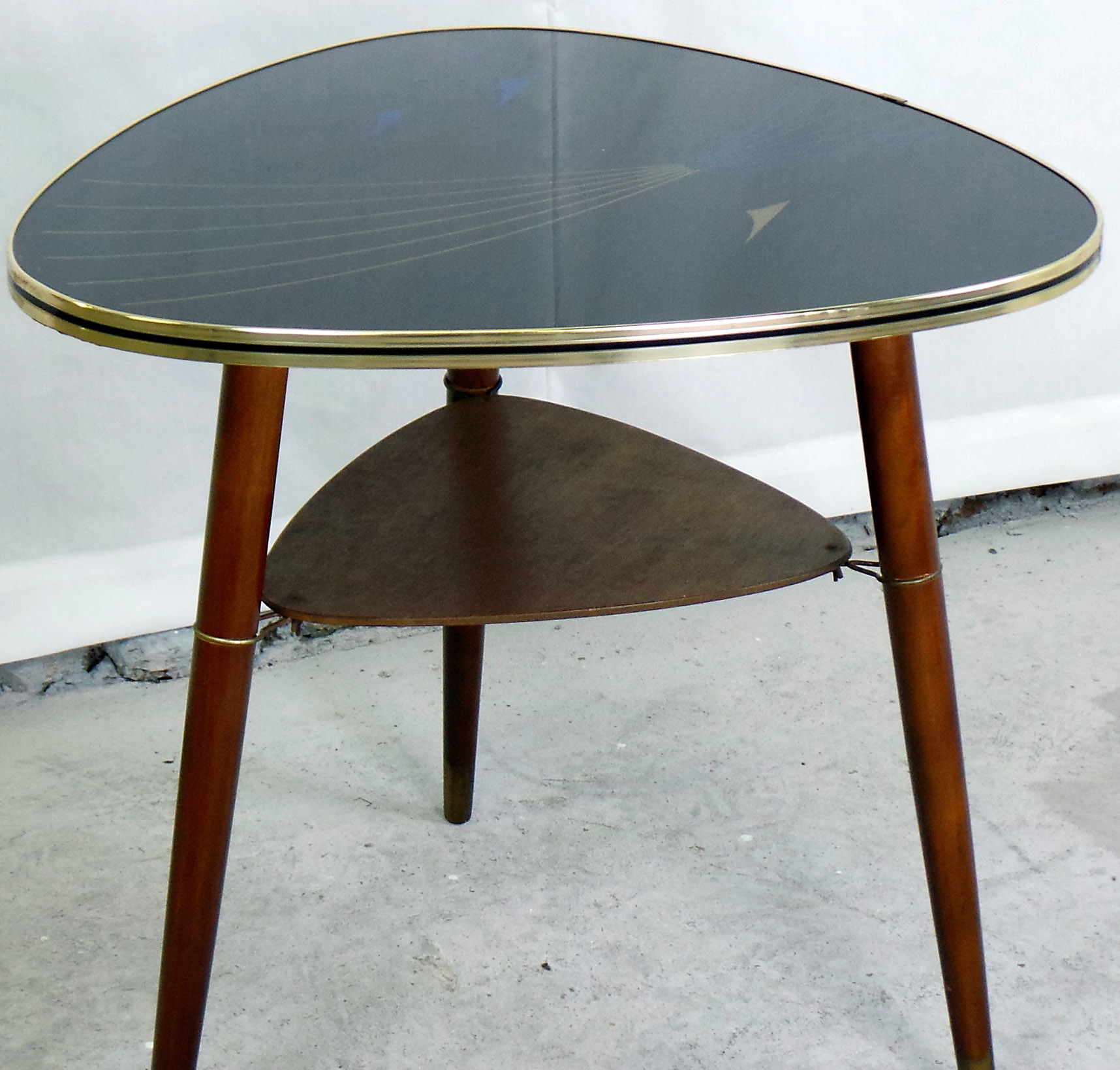 1950u0027s Danish Reverse Painted Glass Topped Side Table