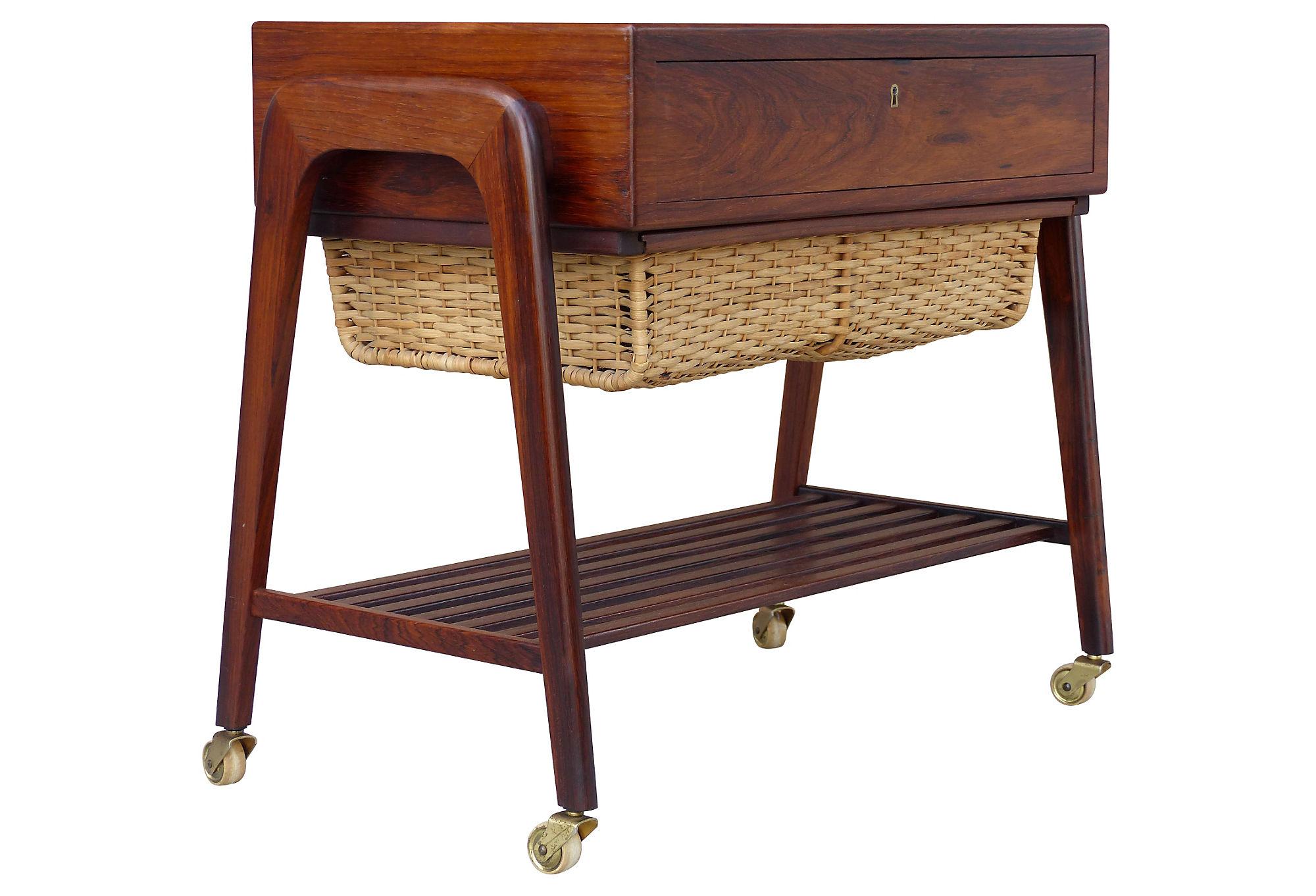 Danish Modern Rosewood Sewing Table