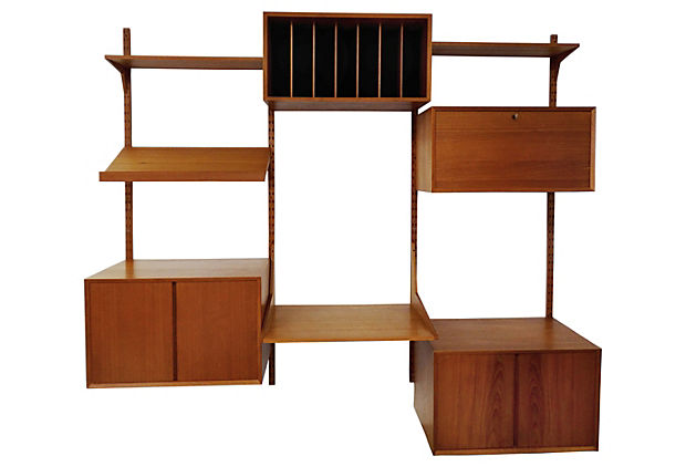 Danish Modern Teak Secretary Wall Unit From Cado Of Denmark